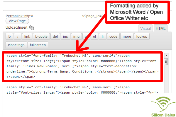 Formatting Added by Microsoft Word in WordPress