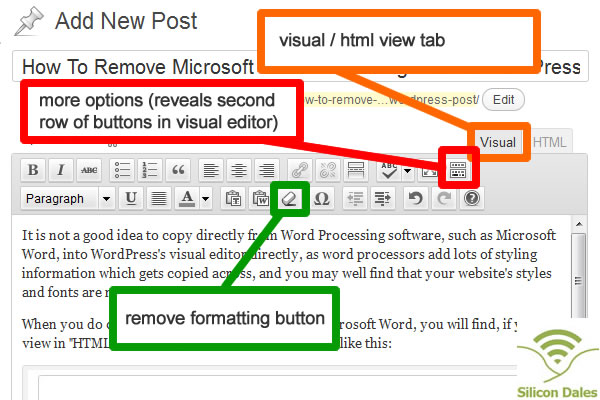 "Remove Formatting Button in WordPress ""Add Post"" Screen"