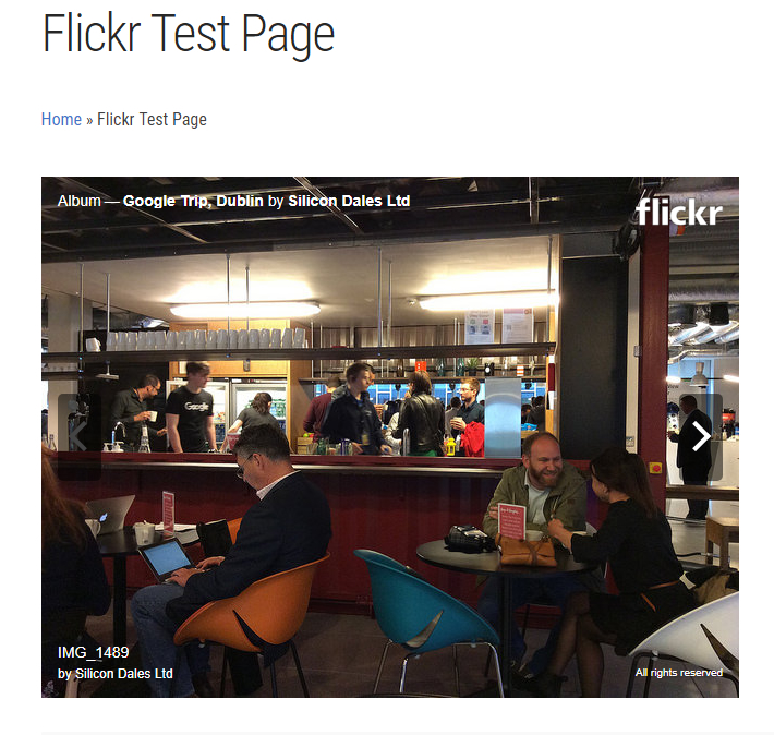 Flickr gallery on WordPress with hover over controls