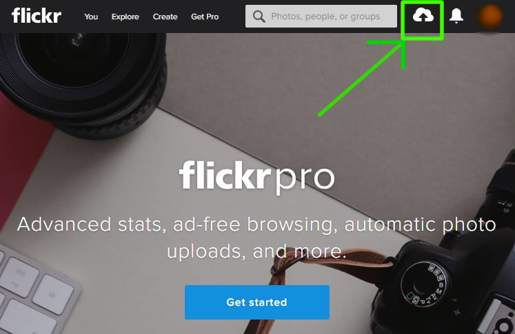 find the upload button on flickr