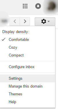 Settings option in g suite email dashboard
