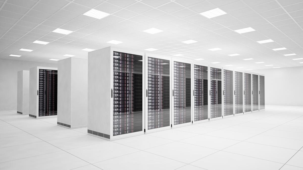 A white datacentre with black server racks