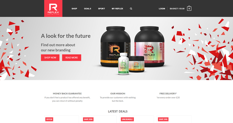 Reflex Nutrition Screenshot Homepage