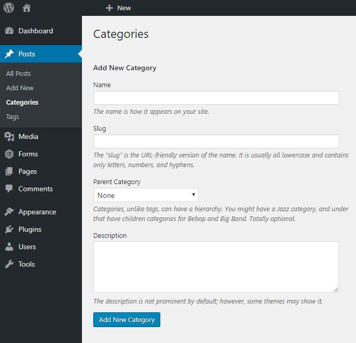 category addition page in WordPress backend