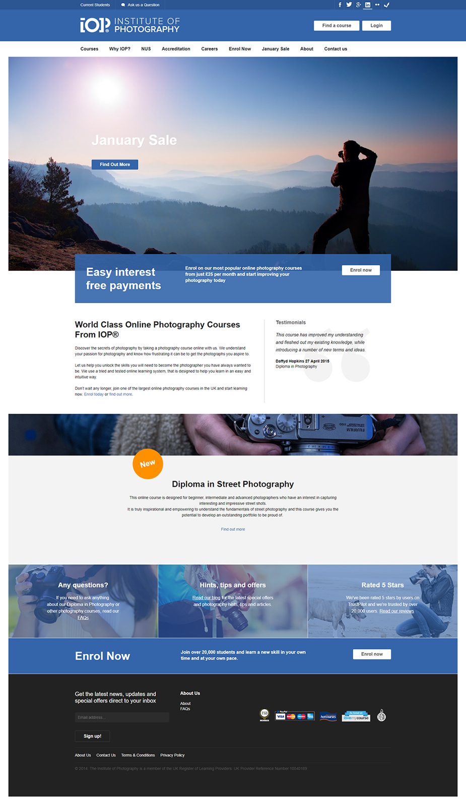 Screenshot of the Institute of Photography homepage