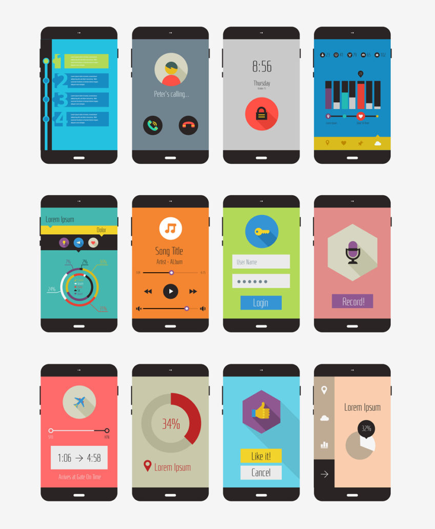 icons of lots of different mobile themes for WordPress