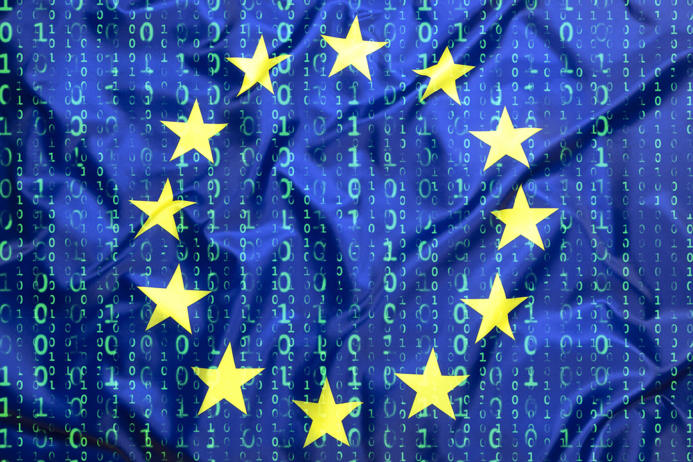 European union flag with ones and zeros symbolising binary or data