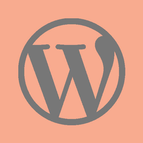 WordPress logo in a salmon pink square