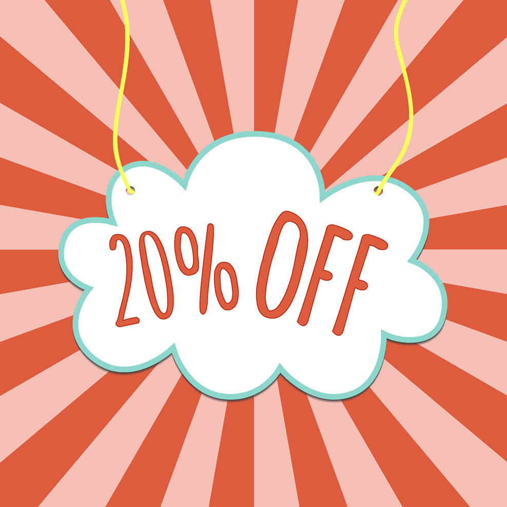 Cloud with 20% off sign
