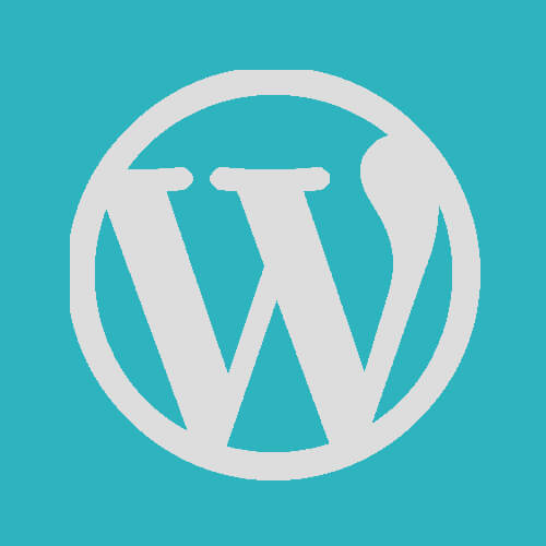 "WordPress ""W"" logo greyscale on an azure background"