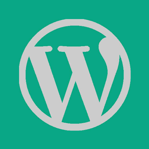 WordPress logo greyscale on a green background