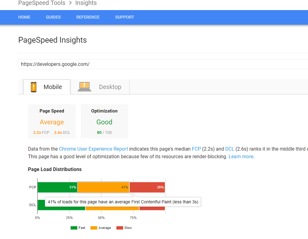 A screenshot of the PageSpeed Insights tool from Google