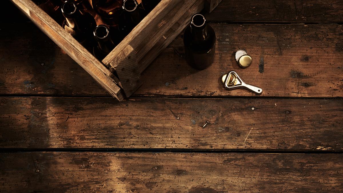 Beer crate and bottle opener