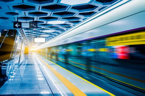 Train platform blurred