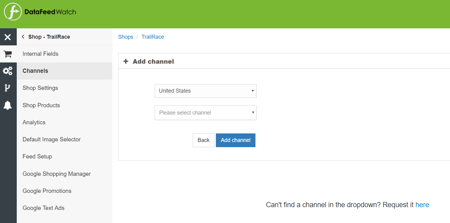 add a channel to datafeed watch