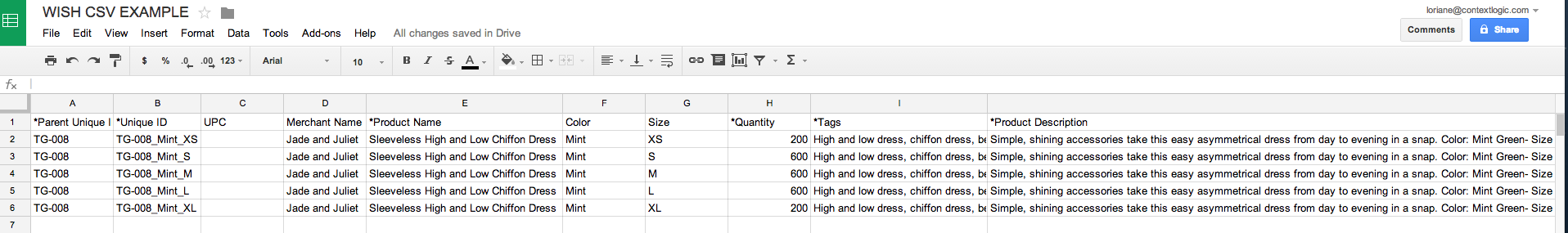 example .csv product feed
