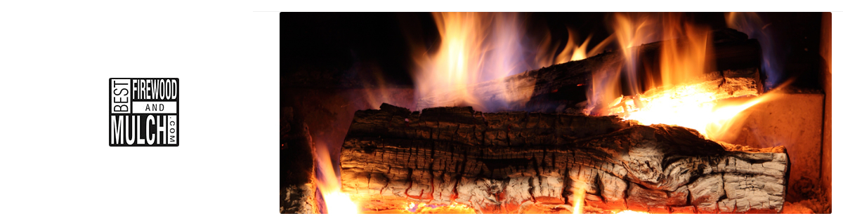 best firewood and mulch logo and photo of fire