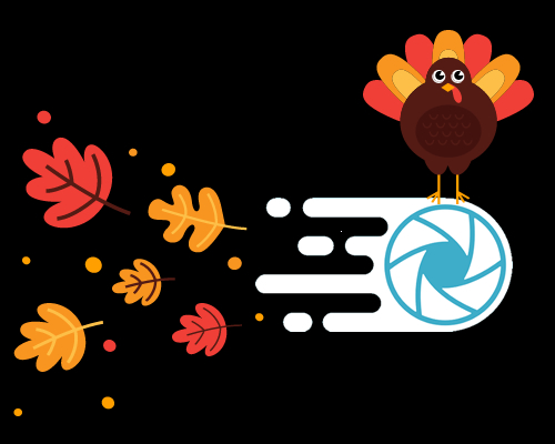 EWWW Image Optimizer logo with Thanksgiving Turkey and Fall Leaves being blown behind the speedy logo