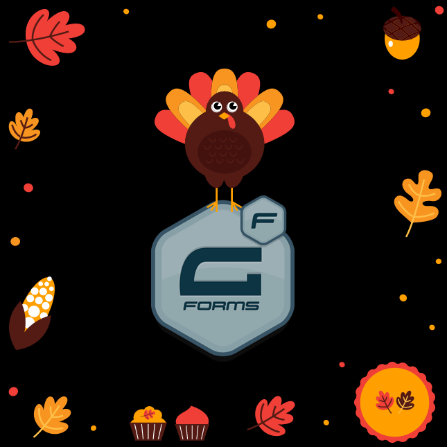 Gravity forms logo with Thanksgiving turkey and seasonal accoutrements