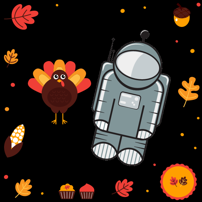 Gravity View astronaut logo with thanksgiving turkey etc