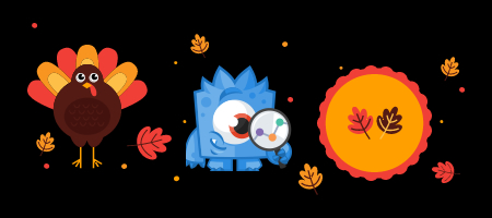 monster insights thanksgiving with turkey and pumpkin pie