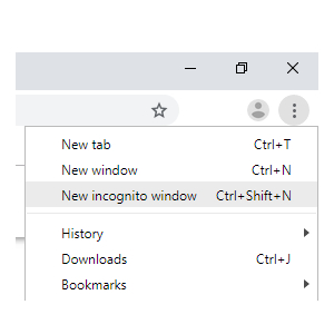 new incognito window option chrome