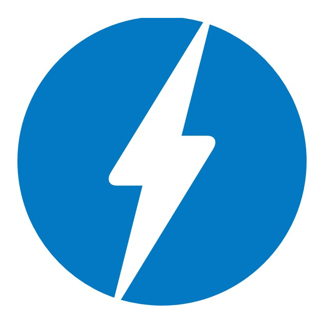 The AMP logo - lightning on blue circle