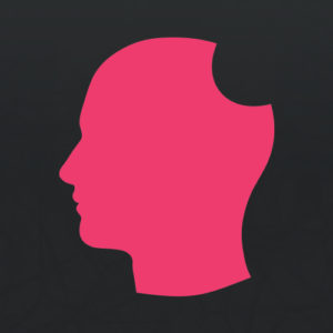 Delicious Brains logo - pink profile head with bite