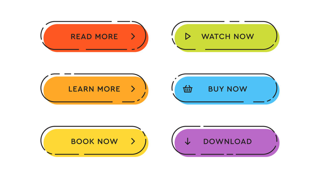 "Call to action buttons: ""Read More"", ""Learn More"", ""Book Now"", ""Watch Now"", ""Buy Now"" and ""Download""."