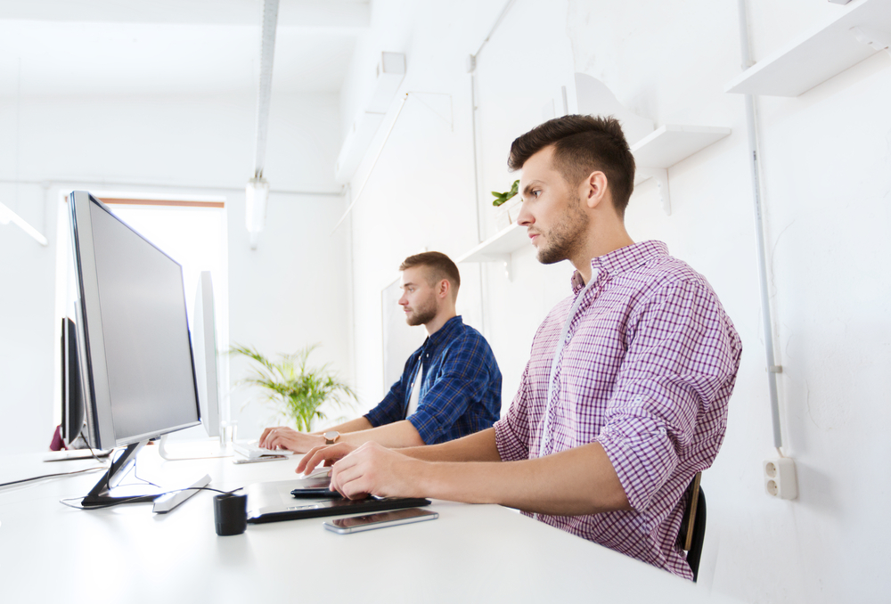 Man working at desktop