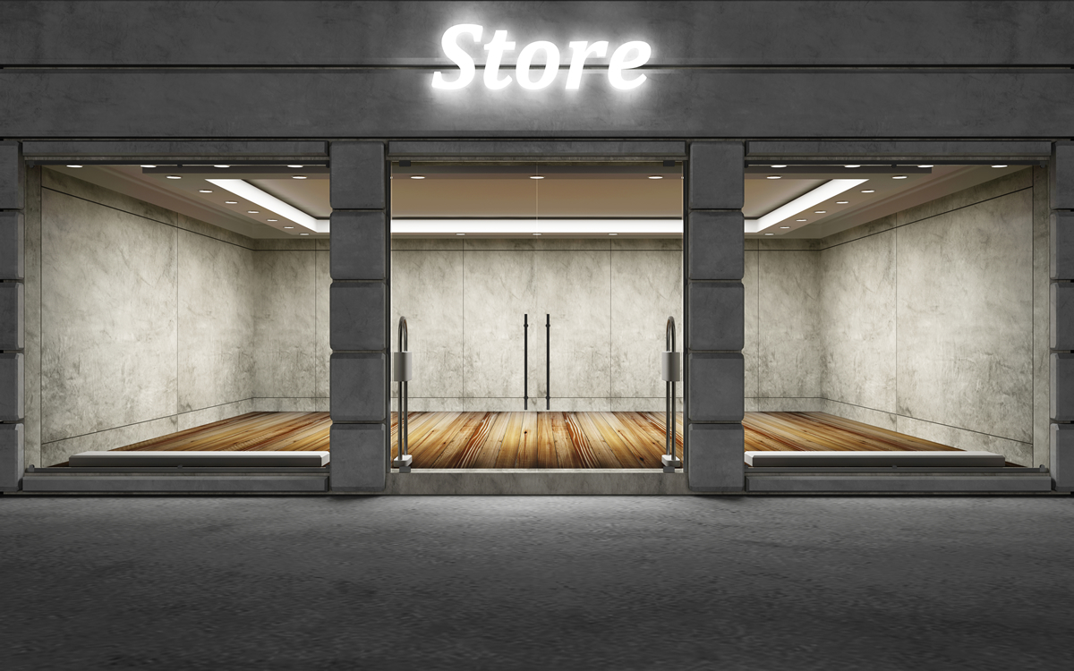 Store front dark grey brick and mortar shop