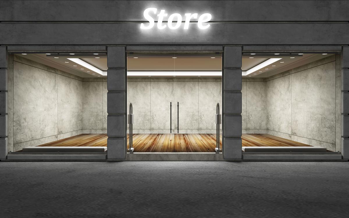 Store front dark grey brick and mortar shop