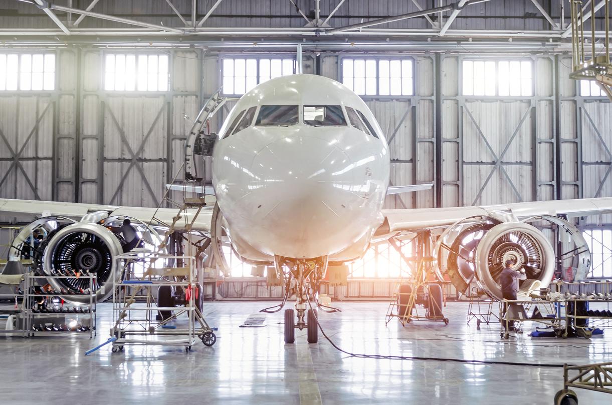 Aircraft construction in hangar