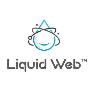 Liquid Web logo water drop with electrons going round