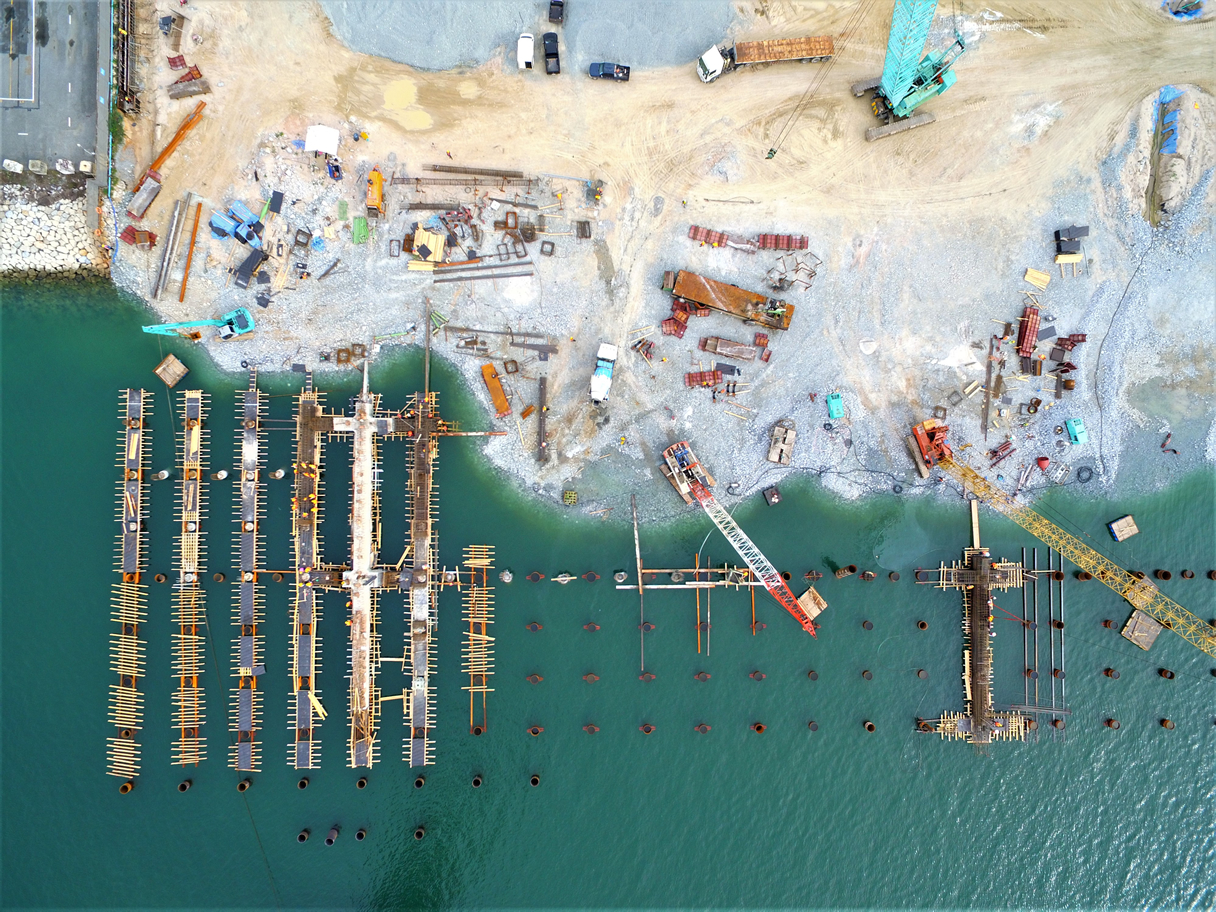 Port construction aerial shot