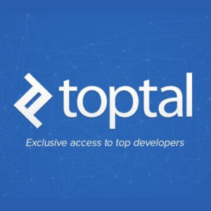 Toptal square blue logo with byline