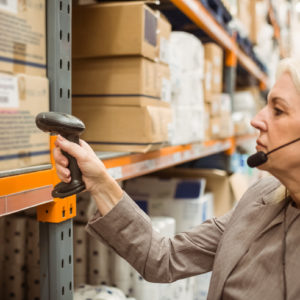 Headset and scanner in warehouse
