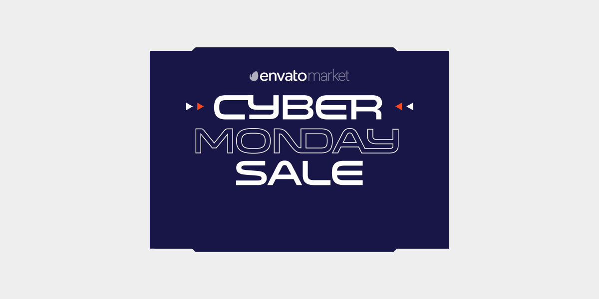 Envato market cyber monday sale banner on dark blue background