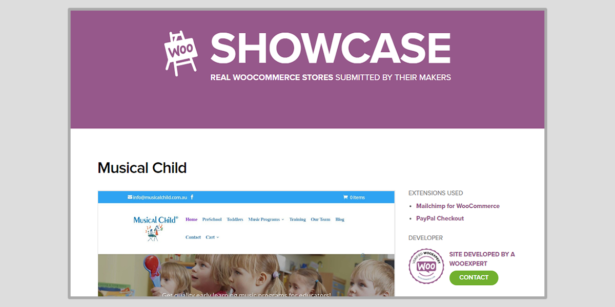 Musical child showcase in woocommerce