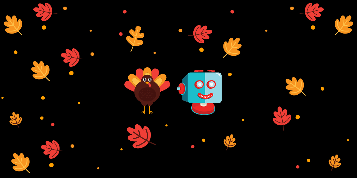 shortpixel thanksgiving banner 2019 featuring the shortpixel robot logo, a turkey and lots of autumnal leaves blowing around a black background
