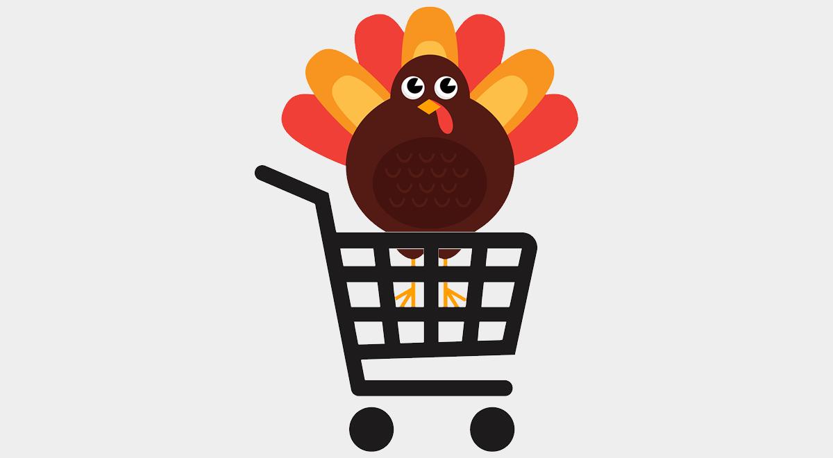 turkey in shopping basket thanksgiving deals