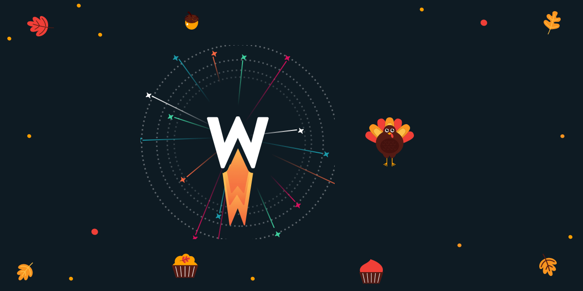 wp rocket logo and a turkey on a dark background surrounded by thanksgiving paraphernalia