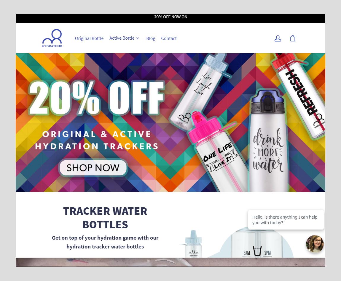 HydrateM8 Homepage screenshot