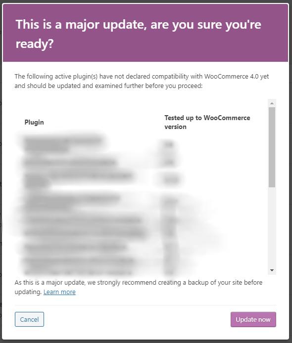 WooCommerce update nag screen